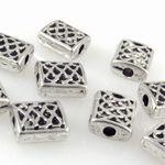 10x Metallperlen Rechtecke 7mm Metall Spacer Perlen altsilber Bastelperlen -1438