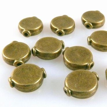 10x Metallperlen 10mm Metall Spacer rund Perlen bronze Metallspacer -1369