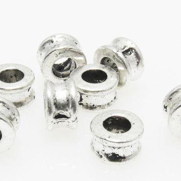 10 Metallperlen Perlen 4mm Spacer Großlochperlen altsilber Metallspacer -226 – Bild 1