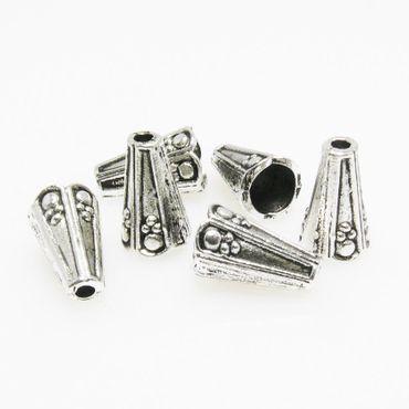 6 große Perlenkappen Endkappen Perlkappen silber antik Kappen 12mm -1067