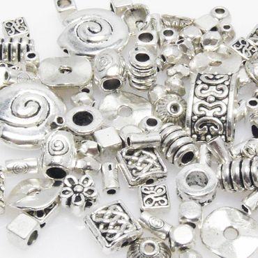 Bastelset Metallperlen Mix 118 St. Metall Beads Perlen silber Perlenmix Spacer