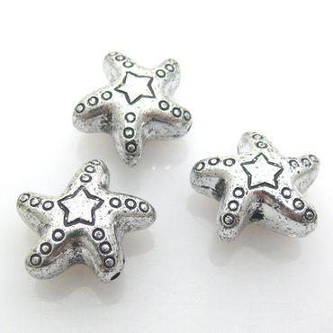 3 St. Perlen Kunststoffperlen 2cm Stern Acrylperlen silber Bastelperlen -854 – Bild 2