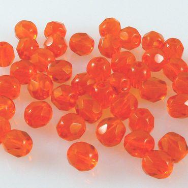 50x Glasschliffperlen Perlen 5mm orange böhmische Glasperlen von PRECIOSA Ornela