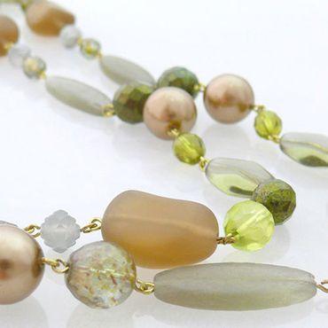 hochwertige Damen Halskette 120cm grün-braun lange Perlenkette aus Glasperlen