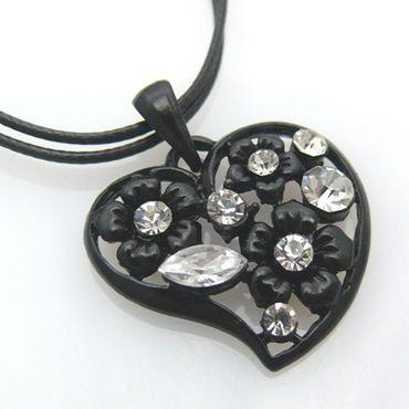Damen Halskette 46cm mit Herzanhänger Strass Modekette Anhänger Herz Herzkette