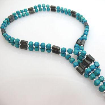 Armband oder Kette 87,5 Halskette Holzperlen türkis Wickelkette Damenkette – Bild 2