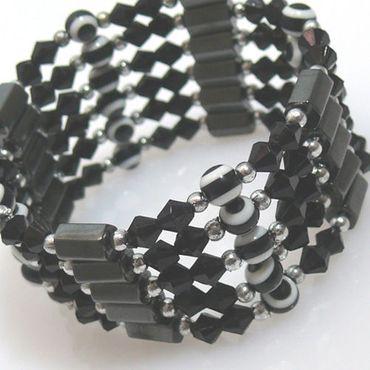 Armband Halskette Wickelschmuck schwarz-weiß 89cm -329 – Bild 1