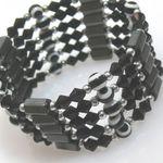 Armband Halskette Wickelschmuck schwarz-weiß 89cm -329