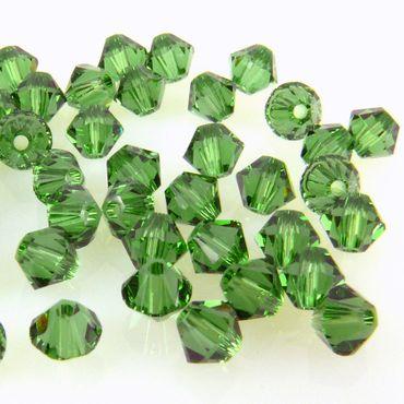 100x SWAROVSKI ELEMENTS 5328 Bicone 4mm Fern Green Glasperlen grün Doppelkegel