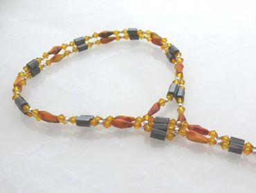 Wechselschmuck Wickelkette orange lange Halskette 88cm oder Armband Perlenkette – Bild 2