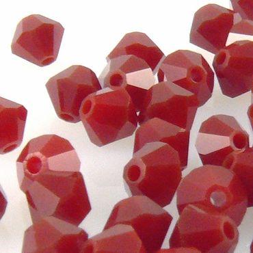 100x SWAROVSKI ELEMENTS 5301 Bicone 4mm Dark Red Coral Glasperlen Doppelkegel