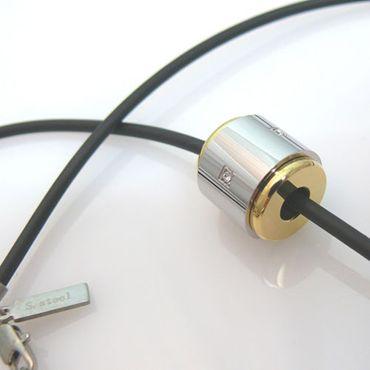 Herrenschmuck Halskette 57cm mit Edelstahlanhänger Walze Herrenketten silbern – Bild 2
