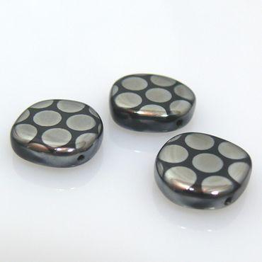 3 Perlen Scheiben rund 15mm schwarz silber Böhmische Glasperlen Coin -679