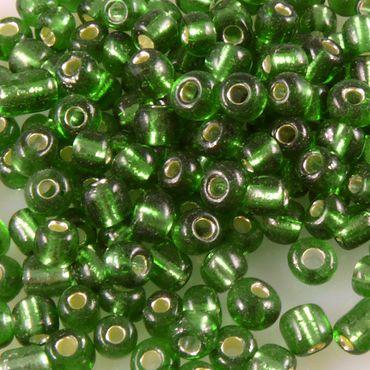 Rocailles Glasperlen grün mit Silbereinzug 3-4mm 240x Perlen Rocaillesperlen-939