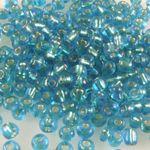 Rocailles Glasperlen blau mit Silbereinzug 3-4mm 280x Perlen Rocaillesperlen-428