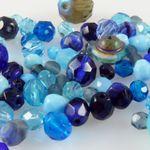 edle Perlen blau 80x Glasschliffperlen Perlenmischung 4-12mm Beads Mix-757