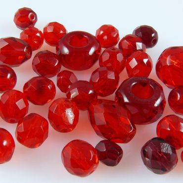 edle Perlen rot 30x Glasschliffperlen Perlenmischung 6-13mm Beads Mix-472 – Bild 1