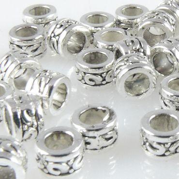 40x Metallperlen Spacer Beads 3,3x5mm Metall Perlen altsilber Metallbeads – Bild 1