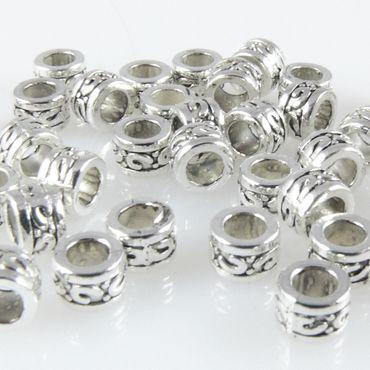 40x Metallperlen Spacer Beads 3,3x5mm Metall Perlen altsilber Metallbeads – Bild 2