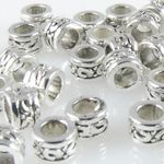 40x Metallperlen Spacer Beads 3,3x5mm Metall Perlen altsilber Metallbeads