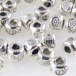 50x Metallperlen Spacer kleine Beads 3x3,5mm Metall Perlen altsilber Metallbeads