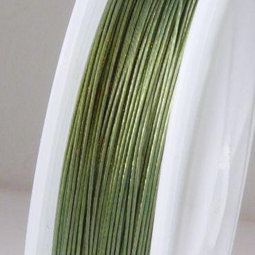 55m Schmuckdraht Basteldraht Ø 0,45mm olivgrün nylonummantelt Draht