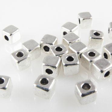 20 Metallperlen kleine Würfel 4mm Spacer Perlen aus Metall silberfarben -1750 – Bild 2