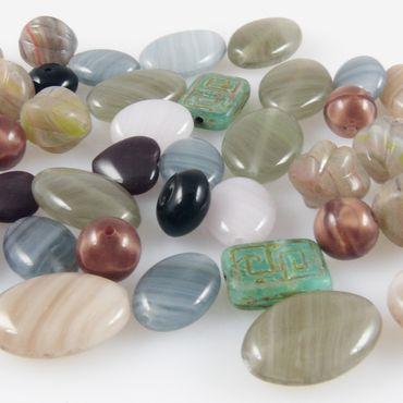 Perlen Mix Glasperlen Mischung bunt 5-16mm 40St. Glas Beads Perlenmix