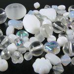 Perlenmix weiß kristall AB 70 Glasperlen 5-18 mm Mix Perlenmischung -1708 001