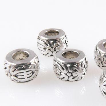 5 Metallperlen Perlen 8mm Spacer Großlochperlen altsilber Bastelperlen – Bild 1