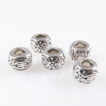5 Metallperlen Perlen 8mm Spacer Großlochperlen altsilber Bastelperlen – Bild 2