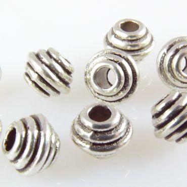 10 Metallperlen Rondelle 5mm altsilber Spacerperlen Beads zum Basteln -1741 – Bild 1