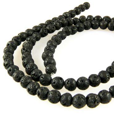1 Strang Lavaperlen rund Perlen schwarz 4mm Lava Kugeln zum Basteln -1111