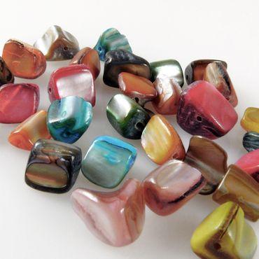 30 farbige Perlmutt Perlen Mix Muschelperlen 7x10mm bunt Bastelmischung -1256 – Bild 1