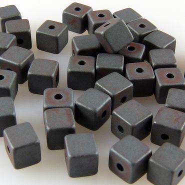 40 St. Hämatit Perlen Würfel 4mm matt Bastelperlen metallgrau zum Auffädeln  -735 – Bild 1
