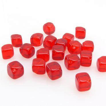 20 St. Böhmische Glasperlen Würfel 6mm Perlen rote Würfelperlen Beads Basteln – Bild 3