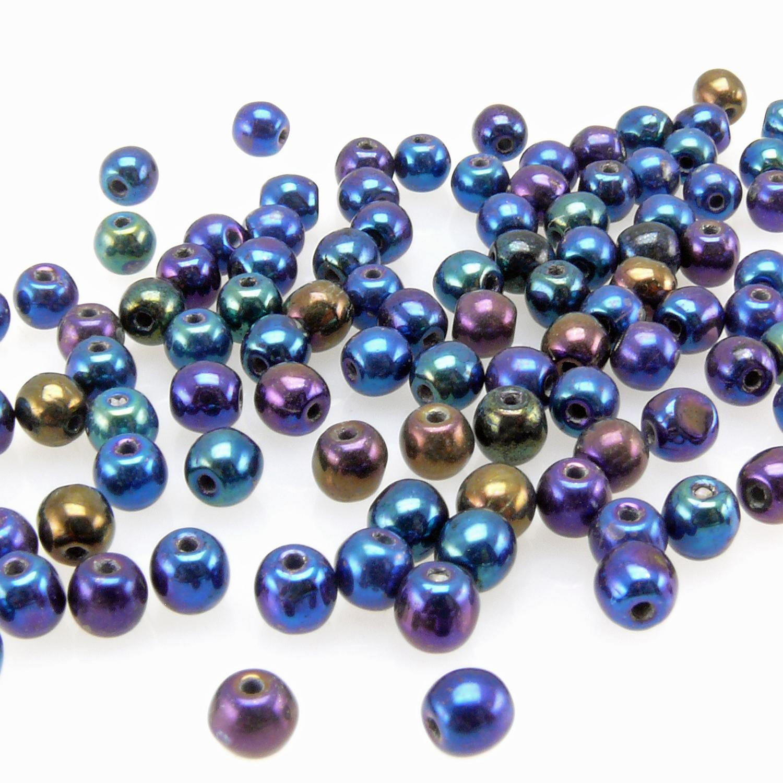 100 Perlen Glas 8 mm Perlen Böhmisch
