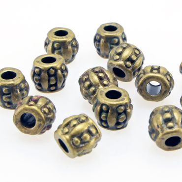 15x Metallperlen Spacer Beads 5x6mm Metall Perlen bronze Metallbeads Rondelle