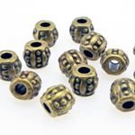 15x Metallperlen Spacer Beads 5x6mm Metall Perlen bronze Metallbeads Rondelle 001