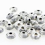 30x Metallperlen 2,6mm Rondelle silber antik Perlen Spacer Linsen Zwischenperlen 001